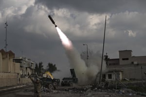 Mosul, IraqFederal Police Rapid Response Forces fire a rocket towards Islamic State positions near the old city