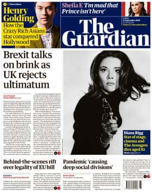 Guardian front page, Friday 11 September 2020