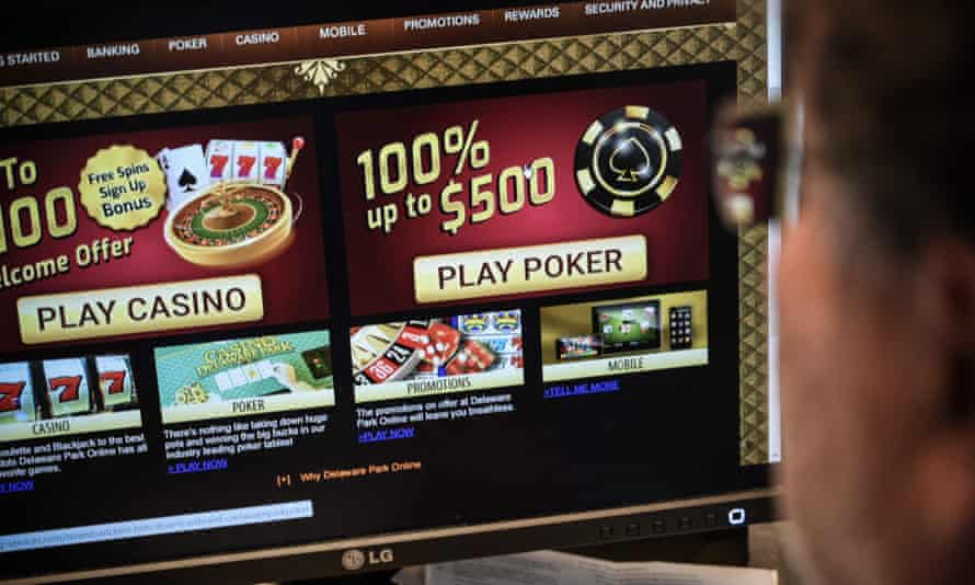 A man looks at a gambling online website page in Washington in the US.