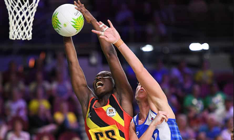 Peace Proscovia pulling in a high ball for Uganda during the Commonwealth Games