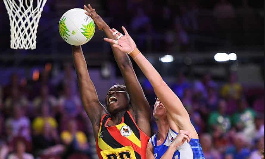 Peace Proscovia of Uganda competes against Scotland at the 2018 Commonwealth Games.