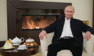Russian President Vladimir Putin offers holiday wishes on the Orthodox Easter at the Novo-Ogarevo residence outside Moscow.