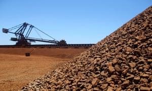 A stockpile or iron ore