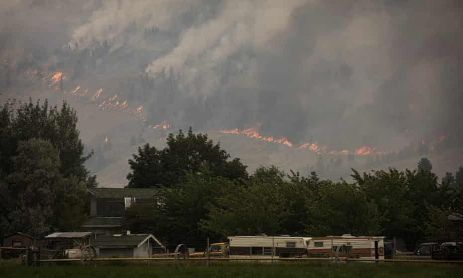 The Snowy mountain wildfire, visible from Cawston, British Columbia on 2 August 2018.