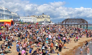 Beach PeopleTightly packed crowds waiting for the air show, Eastbourne 16th of August 2014