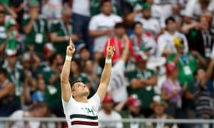 World Cup - Group F - South Korea vs MexicoSoccer Football - World Cup - Group F - South Korea vs Mexico - Rostov Arena, Rostov-on-Don, Russia - June 23, 2018 Mexico's Javier Hernandez celebrates scoring their second goal REUTERS/Marko Djurica
