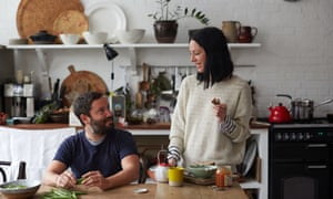 Tom Hill and Clare Lattin at their kitchen table