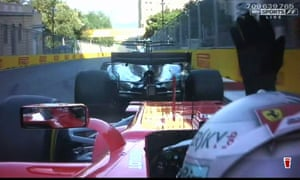 Sebastian Vettel, behind, remonstrates after running into the back of Lewis Hamilton's Mercedes at the Azerbaijan Grand Prix.