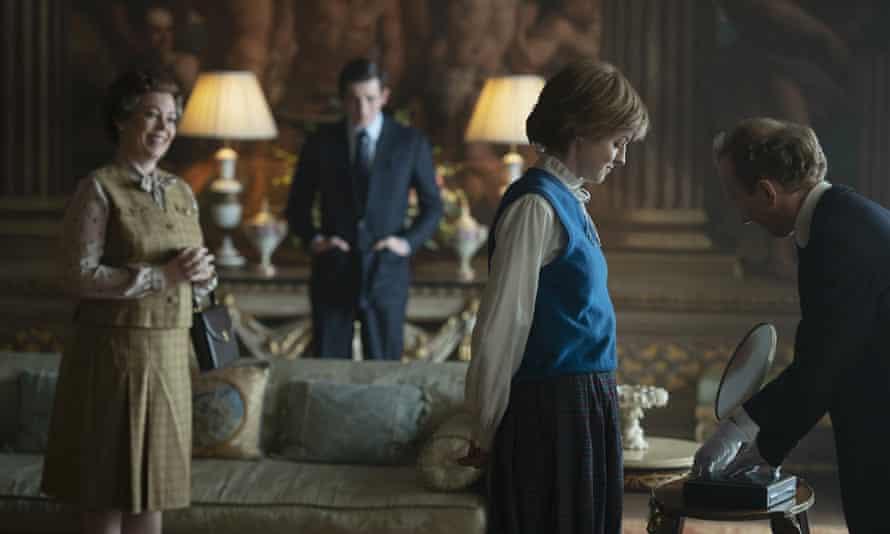 Olivia Colman, Josh O'Connor and Emma Corrin in The Crown.