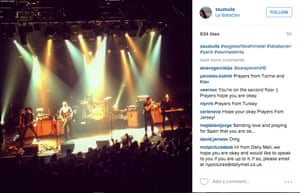 This photo (posted on Instagram by @zsuzsulla) was reportedly taken in Bataclan concert hall Paris, France, on the night of 13 November 2015, before the co-ordinated bomb and gun attacks on the city. It purports to show the band Eagles of Death Metal on stage prior to an attack which killed scores inside the venue.