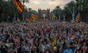Catalonia's pro-independence supporters march in Barcelona, Spain.