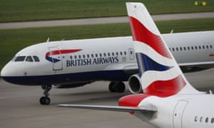 British Airways planes on the runway at Heathrow airport in London.
