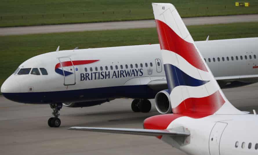 British Airways planes on the runway at Heathrow airport in London.