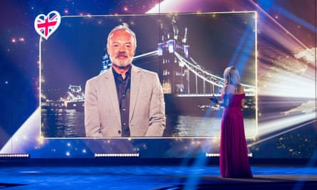 Host Chantal Janzen talks to Graham Norton during the Eurovision's Europe Shine A Light.