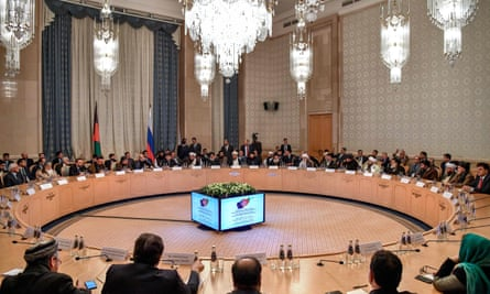Participants attend the opening of the two-day Afghan peace talks in Moscow.