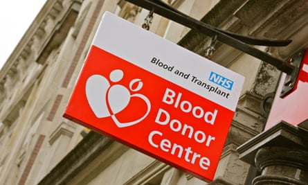 Blood donor centre sign