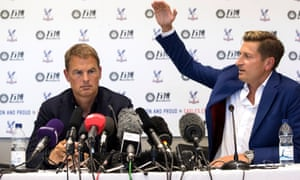 Frank de Boer is unveiled as the new Crystal Palace manager, alongside Steve Parish at the club's training ground.