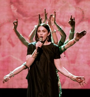 1998: Madonna performs a medley of Shanti and Ray of Light at the MTV video music awards