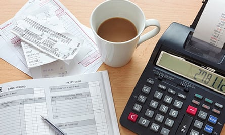 Receipts, invoices and a print calculator.