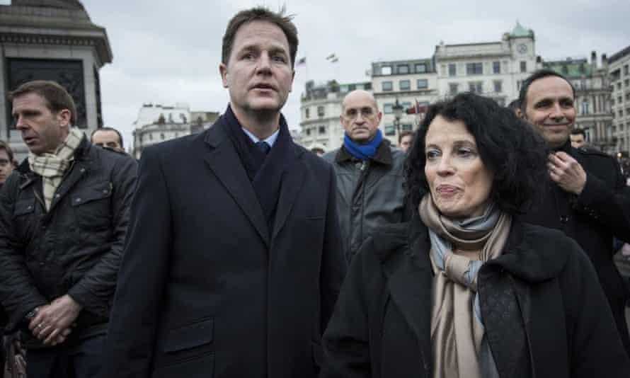 Sylvie Bermann with the then deputy prime minister Nick Clegg in Trafalgar Square in January 2015, during a ceremony for the victims of the Paris terror attacks of that month.