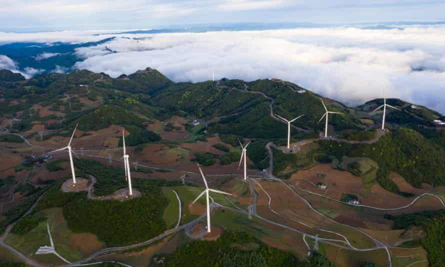 A wind power station under construction in China's Hubei Province.