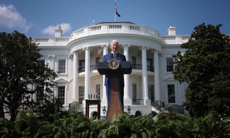 President Joe Biden delivers remarks during an event on the South Lawn of the White House on 5 August.