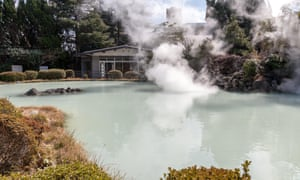 outdoor pool with steam at Shiraike Jigoku onsen