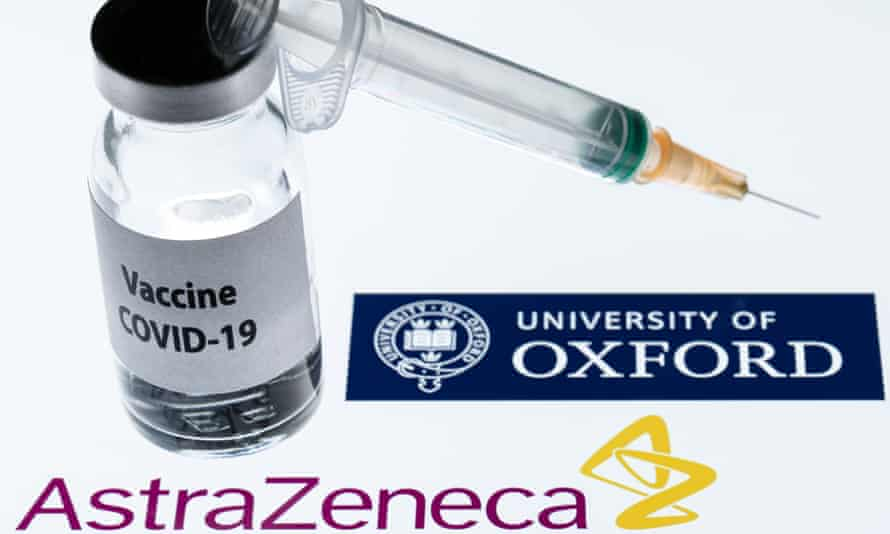 Oxford uni logo, small medicine jar, syringe and AstraZeneca logo