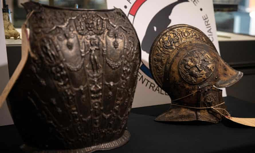A breastplate and ceremonial helmet returned to the Louvre Museum in Paris.