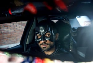 Turkey. Local Batman costumed taxi driver Omer has become a local hero during the pandemic, delivering groceries to the elderly