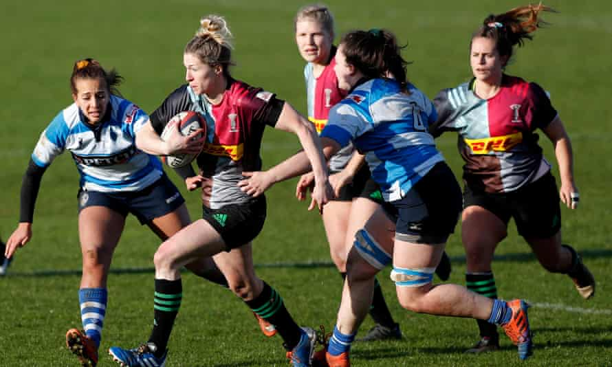 Lydia Hartridge of  Harlequins takes on the Darlington defence in January