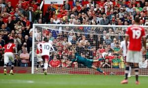 Manchester United's Bruno Fernandes misses a penalty.