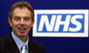 Tony Blair next to an NHS logo