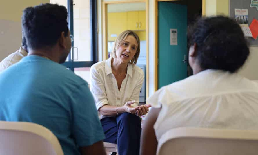 Senator Kristina Keneally talks to Priya and Nades in the visitors room at the Christmas Island detention centre. Picture supplied by the office of Kristina Keneally. Saturday 17th April 2021.
