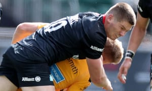 Owen Farrell was shown a red card for his dangerous tackle on Wasps' Charlie Atkinson.