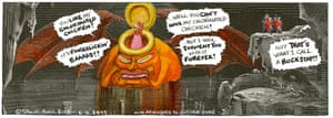 Steve Bell's If ... © Steve Bell 2018 Trump as Satan in hell (after Dore)