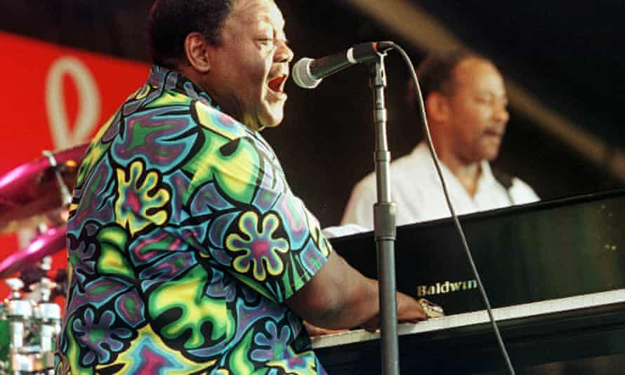 Fats Domino performing at the 30th annual New Orleans Jazz and Heritage festival in 1999.