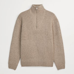 This toasted oatmeal zip-neck knit looks as good now – under a quilted jacket, for winter 2020's outdoor-led requirements – as it will on a chilly summerevening paired with shorts. Zip knit, £45.99, zara.com