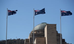 Australian flags fly out the front of the Australian War memorial in Canberra. Tuesday 22nd September 2020.