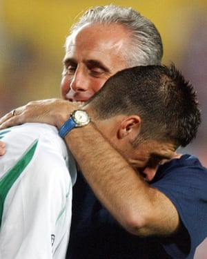 The Ireland manager Mick McCarthy embraces Niall Quinn after the team went out of the 2002 World Cup.