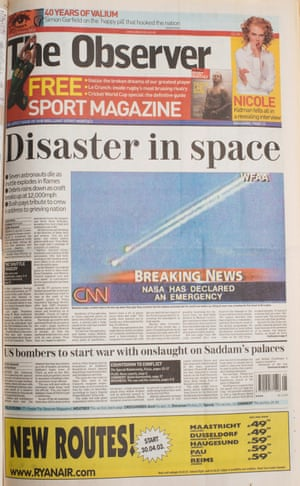 2 February 2003. The Columbia space shuttle disaster.
