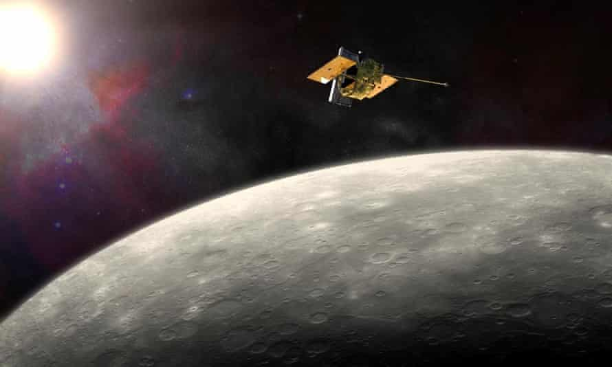 This artist's rendering provided by Nasa shows the MErcury Surface, Space ENvironment, GEochemistry, and Ranging (Messenger) spacecraft orbiting around Mercury.