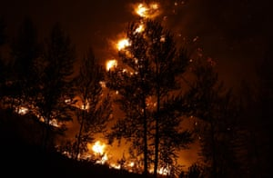 A tree is silhouetted by flames from wildfire above a home in Twisp