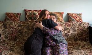 Alexandra Jones, 28, hugs her grandmother Elizabeta Moldovan