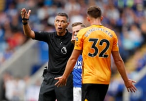 Wolves Leander Dendoncker shows his frustration to referee Andre Marriner after his goal was disallowed after a VAR referral as Wolves draw 0-0 with Leicester City at the King Power Stadium. Leicester didn't have a shot on target until the 83rd minute, courtesy of substitute Harvey Barnes - their latest first attempt on target in a Premier League game since May 2018 v West Ham (86th minute).