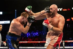 Tyson Fury of the UK, in action against Otto Wallin of Sweden during their WBC Mayan belt fight in Las Vegas, Nevada