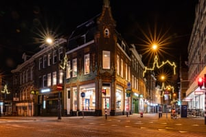 Empty streets are seen on 23 January, 2021 in Haarlem, Netherlands as for the first time in 75 years a curfew is in place in the country as part of a severe lockdown to avoid the further spread of coronavirus.