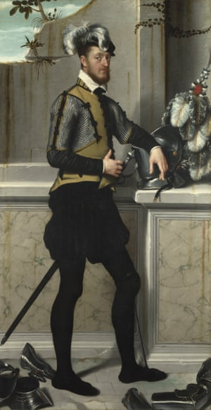 A Knight with his Jousting Helmet by Giovanni Battista Moroni.