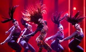 On fire … Eleni Foureira performing Fuego for Cyprus at the first semi-final of the 2018 Eurovision Song Contest – staged in Portugal for the first time.
