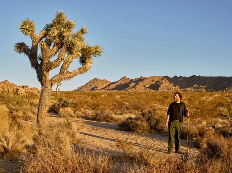 "Ken Layne, writer, publisher and proprietor of ""Desert Oracle"", a self-published periodical and radio program, poses for a portrait at the Desert View Conservation Area."
